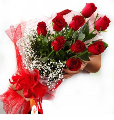 türkiye Çiçek 9 Kırmızı Gül Buketi