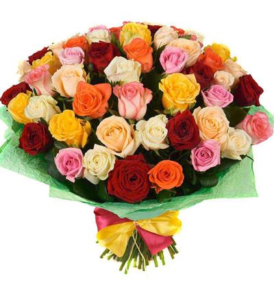 5 Роза и лилия Букет Букет из 51 разноцветные розы