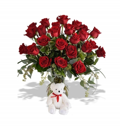 bouquet of lilies and roses 25 Roses and Teddy Bear in the Vase