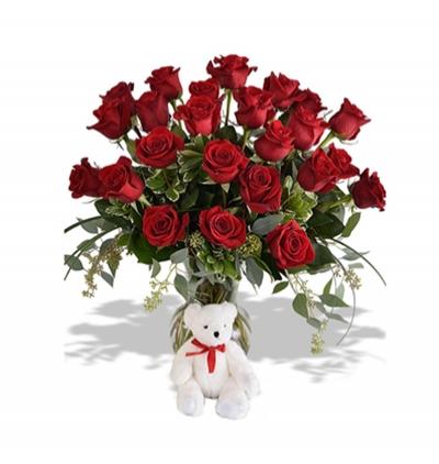 11 rote rosen und teddy