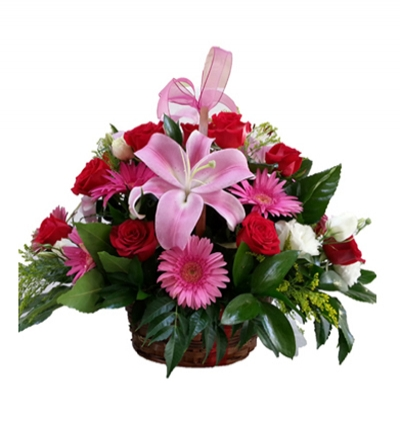 purple lisyantus bouquet Lily & Gerbera & Rose