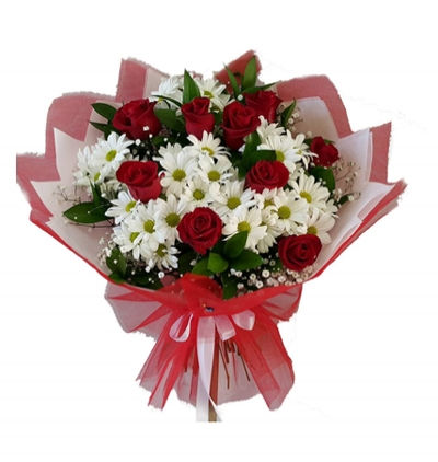 11 white roses bouquet Rose and Chrysanthemum Bouquet