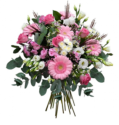 gerbera and chrysanthemum in basket Bouquet in Pink Tones