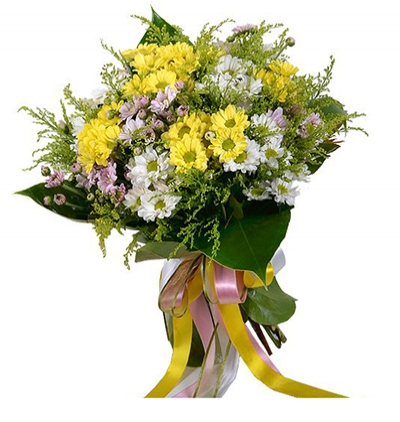gerbera and chrysanthemum in basket Mixed Chrysanthemum Bouquet