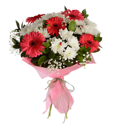 gerbera and lisyantus  Bouquet with Gerbera