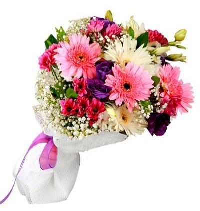 sepette karma Çiçekler Gerbera ve Lisyantus Buketi