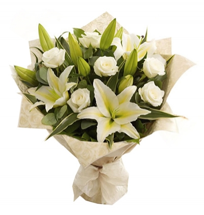 bouquet of lilium and local spring flowers 5 White Roses and Lilies Bouquet