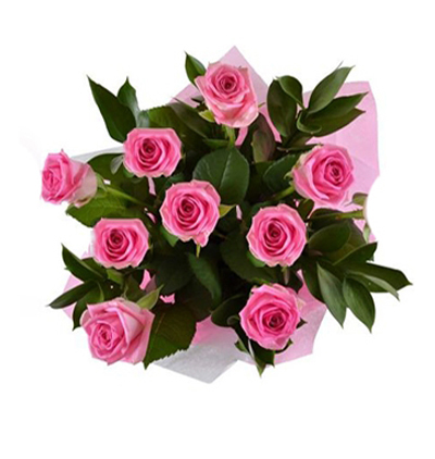11 red roses and teddy 9 Pink Roses Bouquet