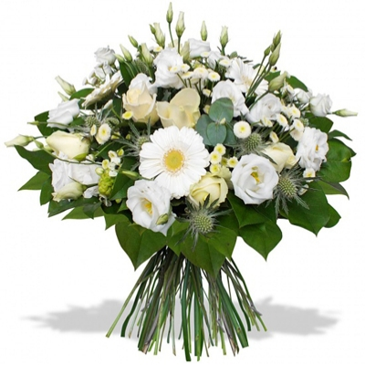 purple lisyantus bouquet Bouquet of white flowers
