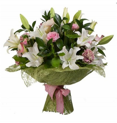 rose lilium and chrysanthemum Bouquet of Lilium and local spring flowers