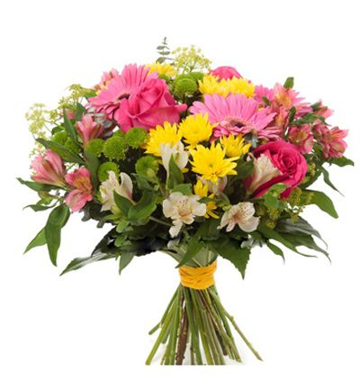 gerbera and chrysanthemum in basket Seasonal Flowers Bouquet