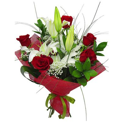 turkey flower delivery 5 Roses And Lilly Bouquet