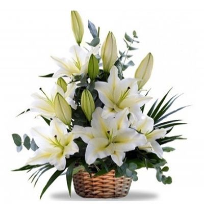 rose lilium and chrysanthemum White Lillies In Basket