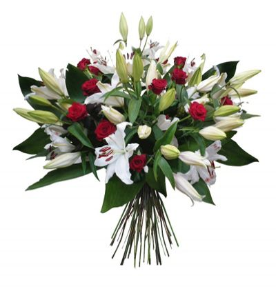 7 red roses bouquet Bouquet of Lilies and Roses