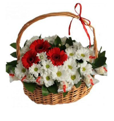 roses Gerbera and Chrysanthemum in Basket