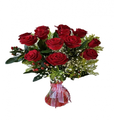 7 rote roses 11 Rote Roses in Vase