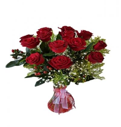 33 pink roses bouquet Vazo İçinde 11 Kırmızı Gül